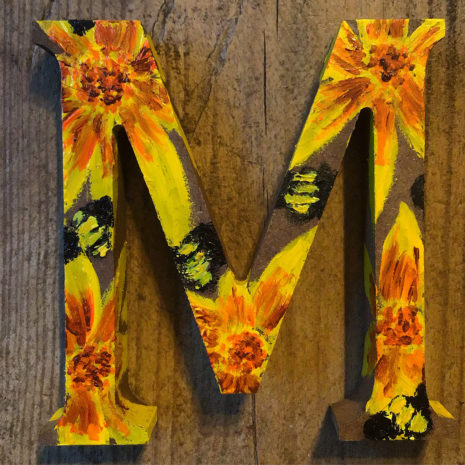 Sally's Sunflowers 'Letters Of Love' Hand Painted Wooden Initial Letters