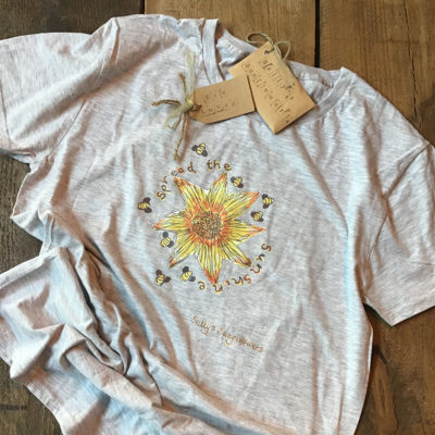 Sally's Sunflowers 'Spread The Sunshine' Eco Cotton T-shirt