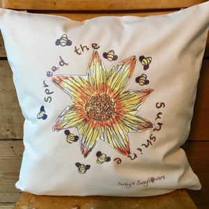 Sally's Sunflowers Spread The Sunshine Eco Cotton Decorative Scatter Cushion
