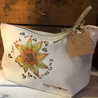 Sally's Sunflowers 'Spread The Sunshine' Eco Natural Canvas Make-Up/Wash Bag