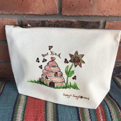 Sally's Sunflowers Eco Cotton Make-Up/Wash Bag