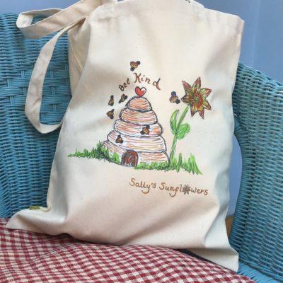 Sally's Sunflowers Bee Kind Organic Cotton Tote Bag