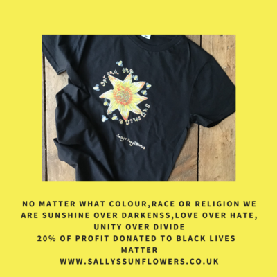 Sally's Sunflowers Spread The Sunshine Black T'Shirt