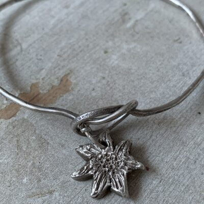 Sally's Sunflowers Infinity Knot Silver Sunflower Charm Bangle